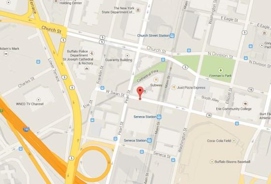 Main Street and West swan street parking lot map, buffalo ny