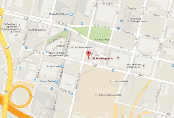 Washington and Swan street parking lot map, Buffalo NY