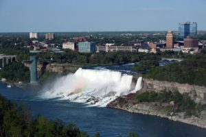 Niagara Falls against Buffalo skyline