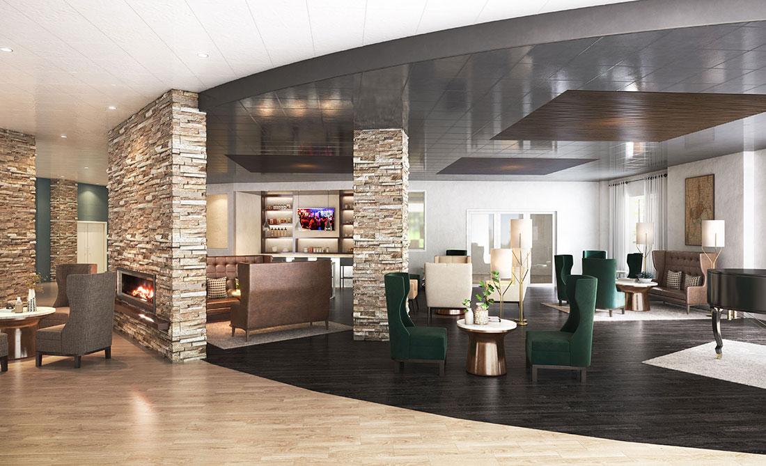 Rendering of the Mosey Lobby
