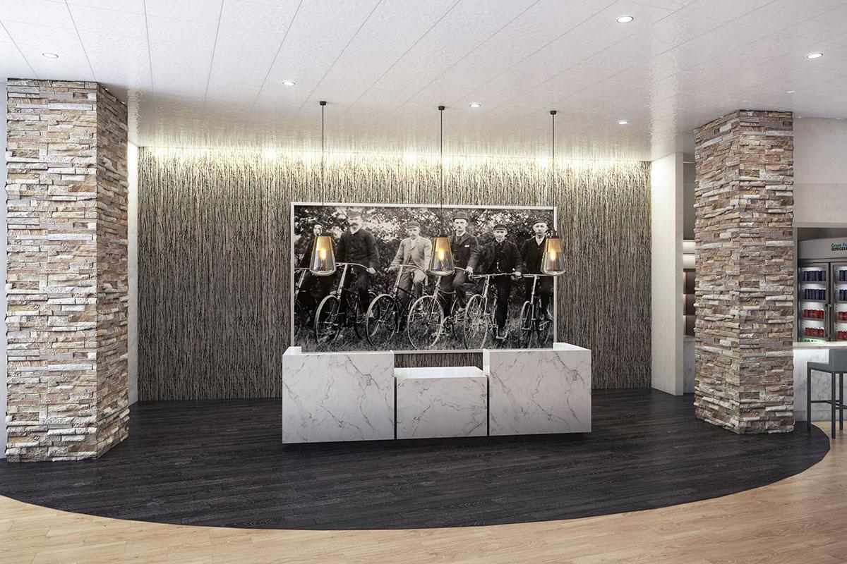Mosey Hotel Lobby Desk Rendering