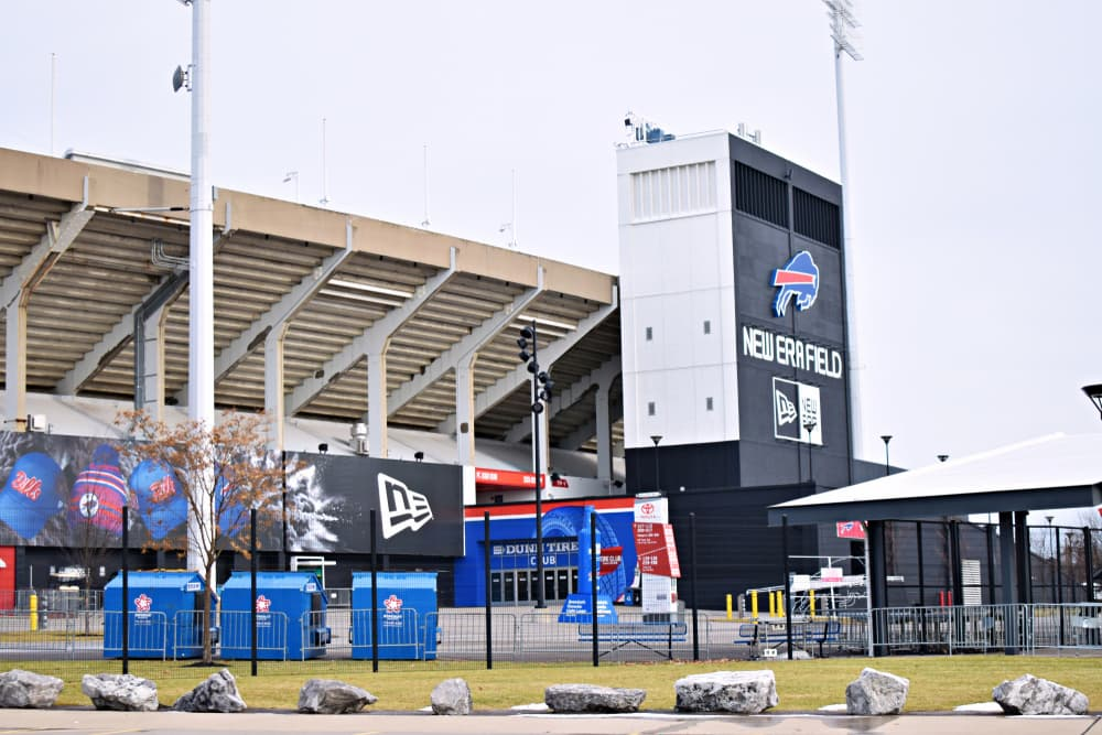 Photo of the outside of the Buffalo Bills football stadium