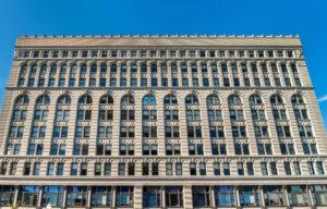 Ellicott Hotel in Buffalo, NY on a sunny day
