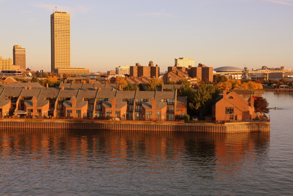 A waterfront skyline of Buffalo New York apartments as Ellicott Development lists apartments for rent in Buffalo New York
